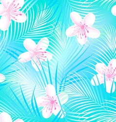 Tropical frangipani hibiscus with blue palms vector