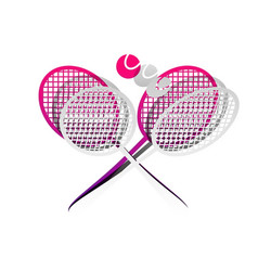 two tennis racket with ball sign vector image