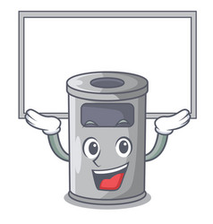 Up board steel trash can with lid cartoon vector