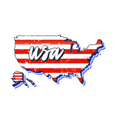 us map with flag texture typography hand drawn vector image
