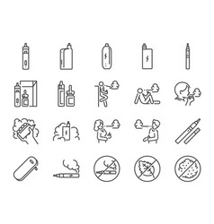 Vaping line icon set vector