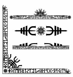 viking runic corner design vector image