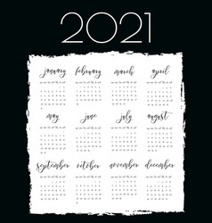 Watercolor ink calendar template 2021 year vector