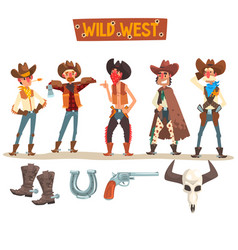 Western cowboys set wild west people with vector