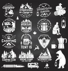Wilderness camp be wild and free concept vector