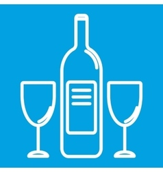 Wine bottle and glasest hin line icon vector image