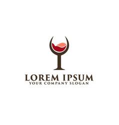 wine glass logo design concept template vector image