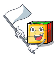 With flag rubik cube mascot cartoon vector