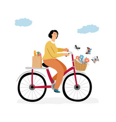 woman on bicycle concept vector image
