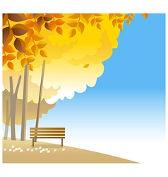 Wooden bench on hilltop vector