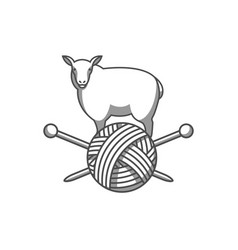 wool emblem with sheep tangle of yarn and vector image