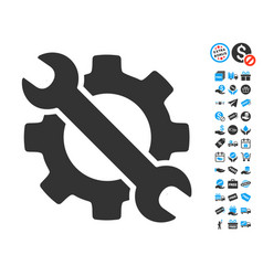 Wrench and gear setup tools icon with free bonus vector