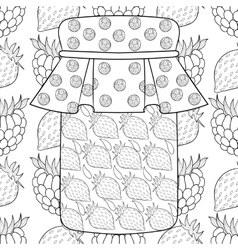 Zentangle stylized jar with strawberry jam on vector image
