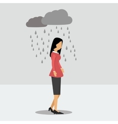 Depressed woman under the rain vector image