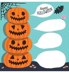 Halloween Pumpkins with bubble speech vector image
