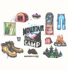 hand drawn camping set with watercolor elements vector image vector image