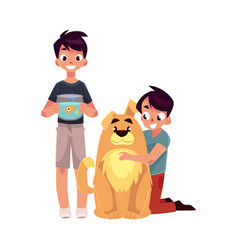 two boys kids - hugging fluffy dog and holding vector image