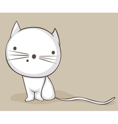 white kitty vector image vector image