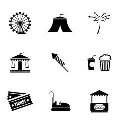 black carnival icons set vector image