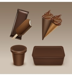 Chocolate ice cream waffle cone with plastic box vector