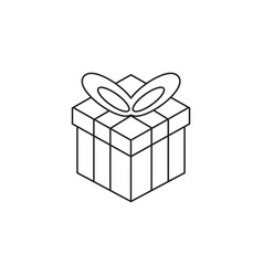 gift box line icon outline logo vector image