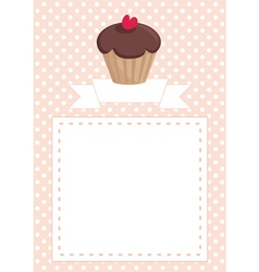 Invitation card with chcocolate muffin on dots vector image vector image