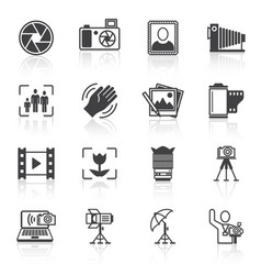 Photography icons black vector image