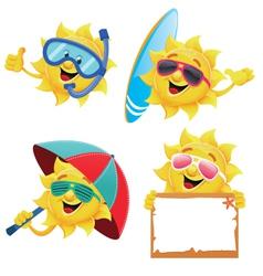 Sun characters vector