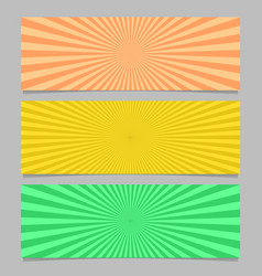 Abstract colorful ray burst banner template set vector