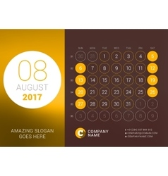 August 2017 desk calendar for 2017 year vector