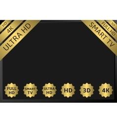 Golden tv labels vector
