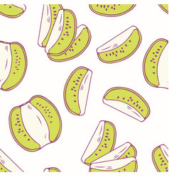 hand drawn seamless pattern with kiwi vector image
