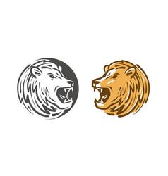 lion roars logo or label animal wildlife emblem vector image vector image