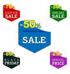 set of flat sale label design elements vector image