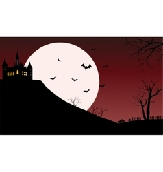 Silhouette of castle with full moon vector