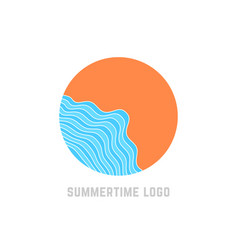 simple summertime logo with blue waves vector image vector image