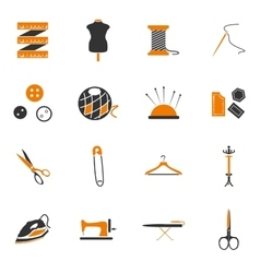 Tailoring icons set vector image vector image