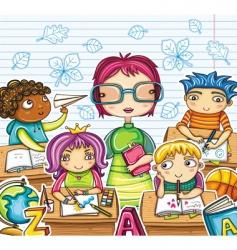 teacher and children vector image vector image