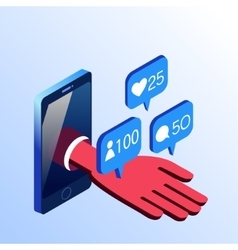 Isometric smartphone hand with notifications vector image vector image