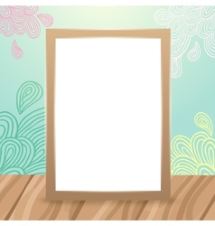 Wood frame on the desk with doodles vector image