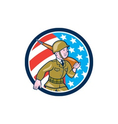 World War Two Soldier American Marching Cartoon vector image vector image