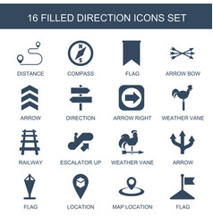 16 direction icons vector