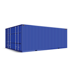 3d perspective blue cargo container shipping vector