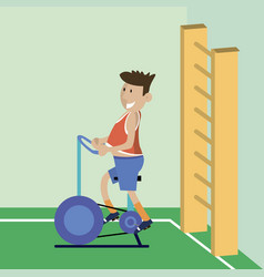 A man on a bicycle trainer vector