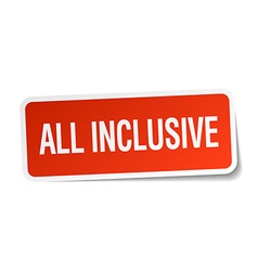 All inclusive red square sticker isolated on white vector