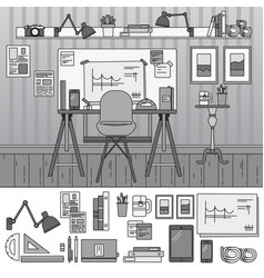 architect working place line monochrome vector image