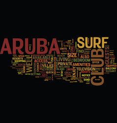 aruba surf club text background word cloud concept vector image