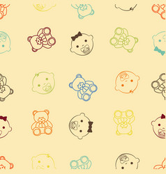 baby girl baby boy and teddy bear seamless retro vector image