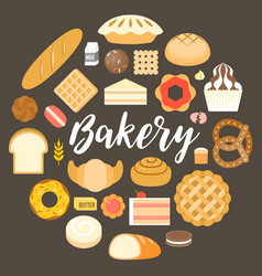 Bakery headline and bakery products vector