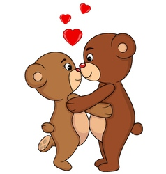 Bear couple kissing vector